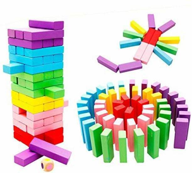 TechBlaze 51 Pieces Wooden Blocks Jenga Block Kids Game with Dice Timber Tower Tumbling Game for Kids and Adults Colorful Wooden Tumbling Tower Stacking Game for Party Games Friends and Family Games