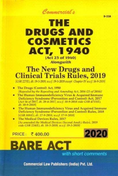Drugs & Cosmetics Act, 1940 Alongwith Rules, 1945 (As Amended In 2012)