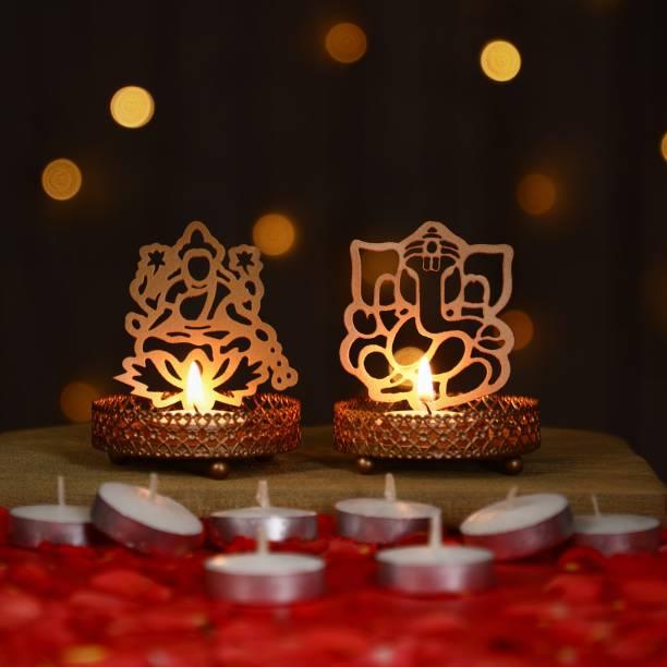 Flipkart SmartBuy Shadow Ganpati Lakshmi With Candles Iron Tealight Holder Set