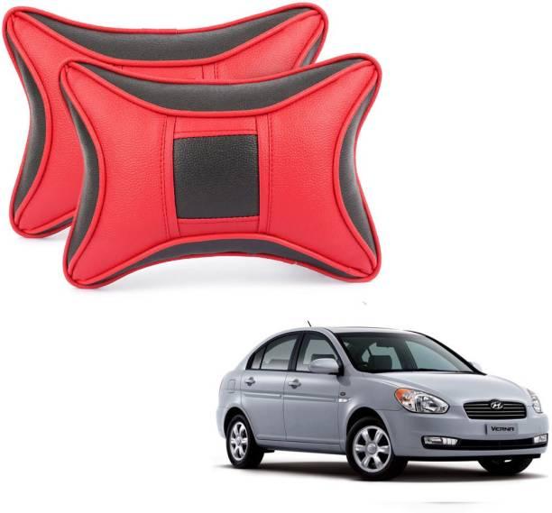 ABP Black, Red Leatherite Car Pillow Cushion for Hyundai
