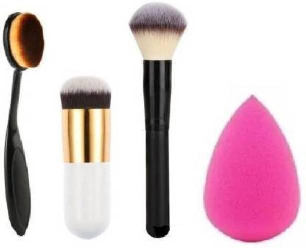 KASCN Combo Of Make-up Brush Set With Sponge Beauty Blendor Puff m-A-c Face Brush.