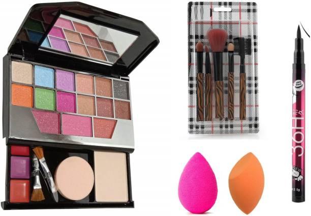 Insta Beauty Makeup Brushes + TYA Makeup Kit Mini + Me Now Makeup Sponges + Yanqina Eye Liner 36 Hour Black