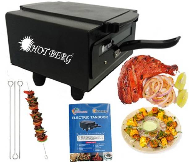 """HOT BERG """" 14 Inches""""Electric Tandoor Pizza Maker Fish Chicken Tikka Naan Roti Cake Baker French Fries Meat Barbeque Chaap Oil-Free Fryer (Black) Electric Tandoor"""