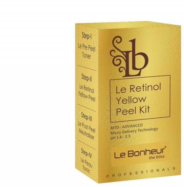 Le Bonheur Le Retinol Yellow Peel Kit (4 Pc-Pre Peel Toner, Retinol Yellow Peel, Post Peel Neutralizer, Skin Tonic)