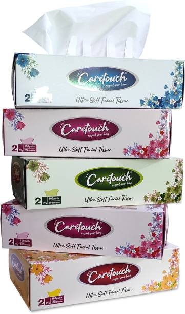 Care Touch Ultra Soft 2 Ply Face Tissue Box - 200 Pulls (400 Sheets) per Box (Pack of 5 Boxes)