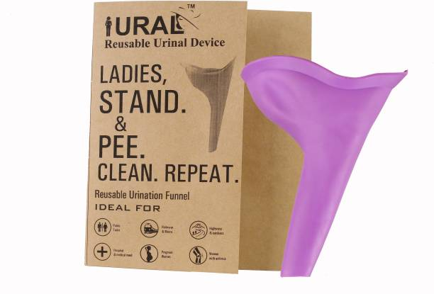 URAL Easy Pee Female Silicone Portable Urination Device (Purple - Lightweight Travel Urinal Funnel to enable Women / Ladies / Girls to Stand up and Pee Reusable Female Urination Device (Purple, Pack of 1) Reusable Female Urination Device