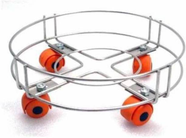 AVNI TRADERS Stainless Steel Cylinder Trolley with Wheels | Gas Easy Movable Flexible Unbreakable Trolly/LPG Cylinder Stand (Pack of 1) Gas Cylinder Trolley