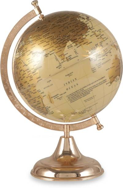Tuelip 8 Inch Educational Political Rotating World Globe with Steel Finish Arc and Base Desk Globe Political World Globe