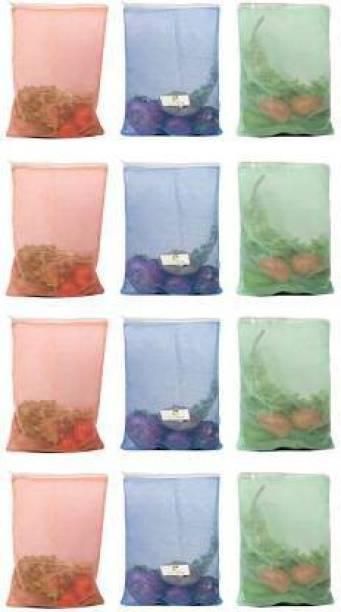 Shri Ashu Creation PACK OF 15 Multipurpose Fruits and Vegetable Storing Mesh Fridge Storage Zip Bags Pack of 15 Grocery Bags