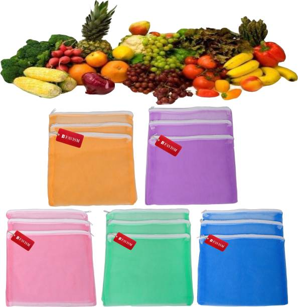 FAVISM Reusable Fruits & Vegetables Grocery bags or Fridge Bags or Multi Purpous Storage bags Combo Pack of 15 Pcs. Pack of 15 Grocery Bags