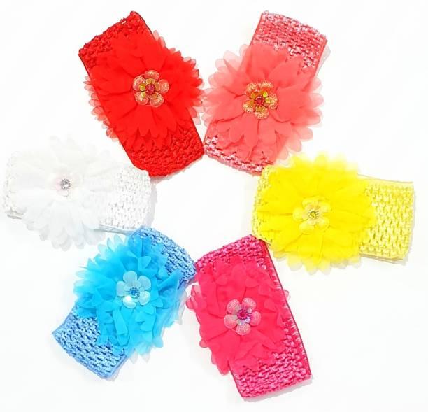 RAINBOW RETAIL baby multi-coloured baby girl hairband headbands glitter elastic bow knot hair accessory set 6 PCS Head Band (Multicolor) Head Band