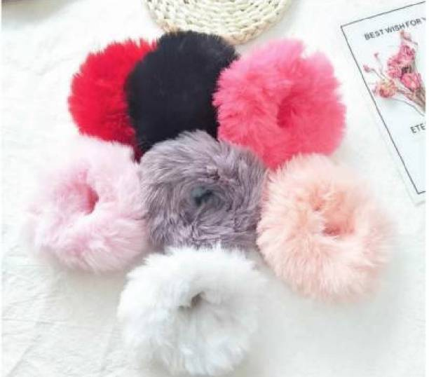 NICK KNACK NEHA COLLECTION-Fur Elastic Fluffy Faux Rope Furry Hair Scrunchies for Girls, PK06 Rubber Band(Multicolor) Rubber Band