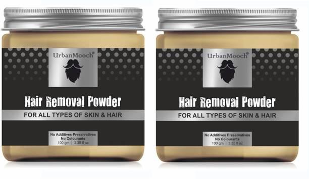 UrbanMooch Natural & Organic Hair Removal Powder - All Skin & Hair-100GM-Packof-2-Jar- Cream