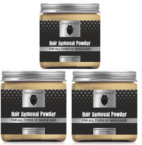 UrbanMooch Natural & Organic Hair Removal Powder - All Skin & Hair-100GM-Packof-3-Jar- Cream