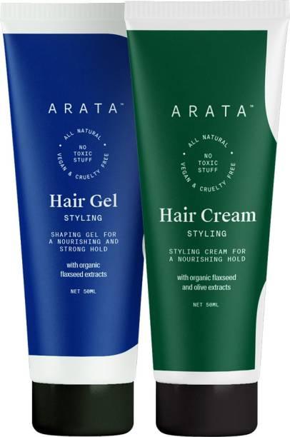 ARATA Natural Hair Styling Combo with Hair Gel & Hair Cream Hair Gel