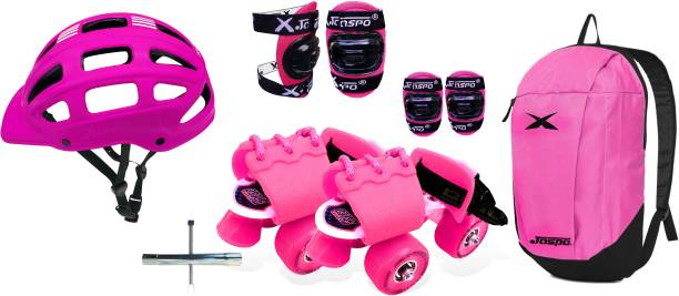 Jaspo Toddlers Baby Kids Junior Intact Adjustable Roller Skates Combo (Color:Pink) (Suitable for Age Group Up to 5 Years) Skating Kit