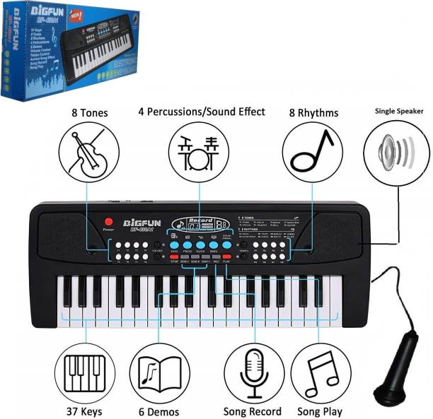 Bestie Toys toy 37 Bigfun Piano Keyboard Toy for Kids with Mobile Charger Power Option, USB Cable and Recording-Latest Edition (Black)