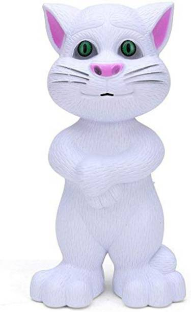 Freshh Club Talking Tom Cat Toy For Kids Intelligent Speaking Repeats What You Say | Record And Talk Back Mimicry Of Wonderful Voice, Stories And Songs | Electronic Toys For Gift |Colour - White |SET OF 1