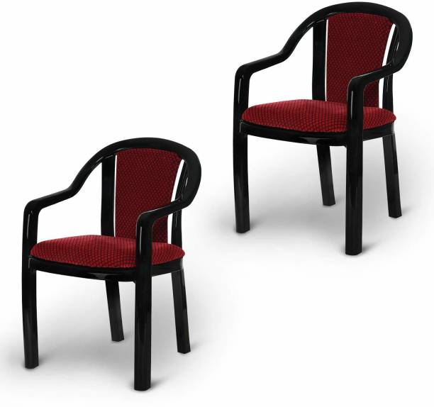 Supreme Ornate for Home & Garden Plastic Outdoor Chair (Black & Red) Plastic Cafeteria Chair