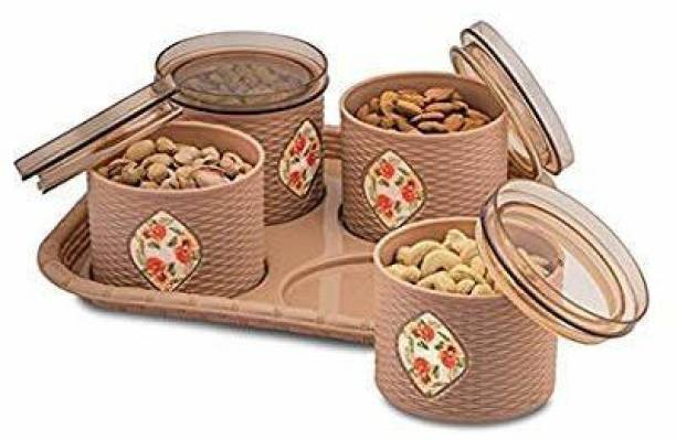 SARANGWARE Dry Fruit Box For Diwali, Gifting, Mukhwas Box, Sweet Box, Air Tight Silicon Rubber with One Tray 4 Pcs Set_Brown Tray Serving Set