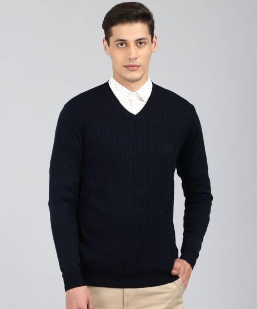 VAN HEUSEN Self Design V Neck Casual Men Dark Blue Sweater