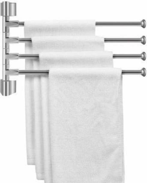 Filox Stainless Steel 4-Arm Bathroom Swing Hanger Towel Rack/Holder for Bathroom/Towel Stand/Bathroom Accessories silver Towel Holder (Stainless Steel) silver Towel Holder