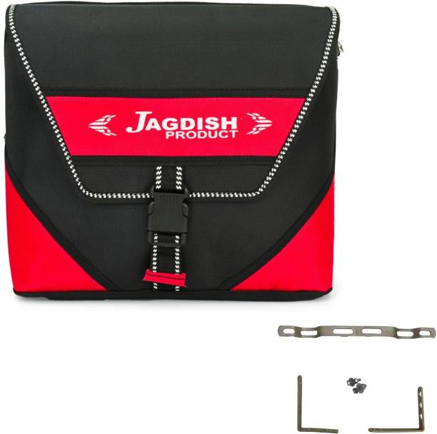 JAGDISH Matty Finish Cross Style Heavy Duty Saddle Bag Bike Side Bags with Metal Clip for All Bikes (Red-Black) Saddle Bag Red, Black Polyester, Fabric Motorbike Saddlebag