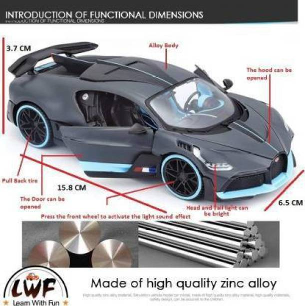 SPEEDYZONE 1:18 Bugatti Divo Metal Diecast Model Roadster Car Pullback Toy car for Kids Best Gifts Vehicle Toys for Kids Sound and Light Pull Back Cars Toys & Truck Cars Boys Multi Color New in Box Gray