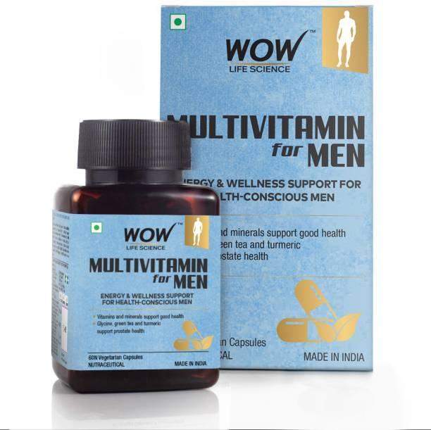 WOW Life Science Multivitamin for Men - with Glycine,Green Tea,Turmeric,Vitamins - 60 Veg Capsules
