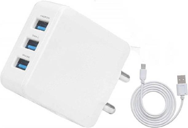 ozrik 3 Port 3.4Amp Fast Charger with Detachable Cable (WHITE, Cable Included) 3.4 A Multiport Mobile Charger with Detachable Cable