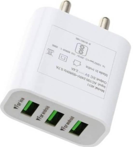 ozrik 3 Port USB 3.4AMP Multiport Mobile Charger Adapter 3.4 A Multiport Mobile Charger