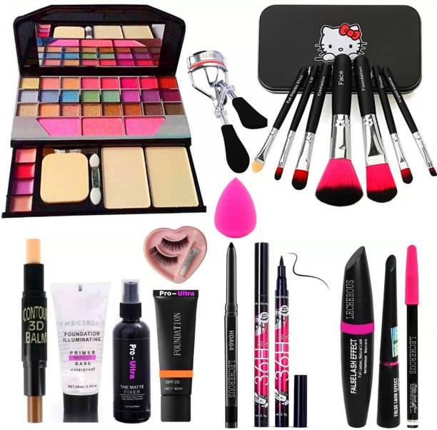 Pro Ultra 7pcs Makeup Brush set with TYA makeup kit,3D contour stick,Primer, Fixer, high quality foundation, Kajal, Waterproof 36H Sketch eyeliner and 3in1 Combo set ,eyelashes curler and eyelashes with glue and beauty blander (Pack of 12)