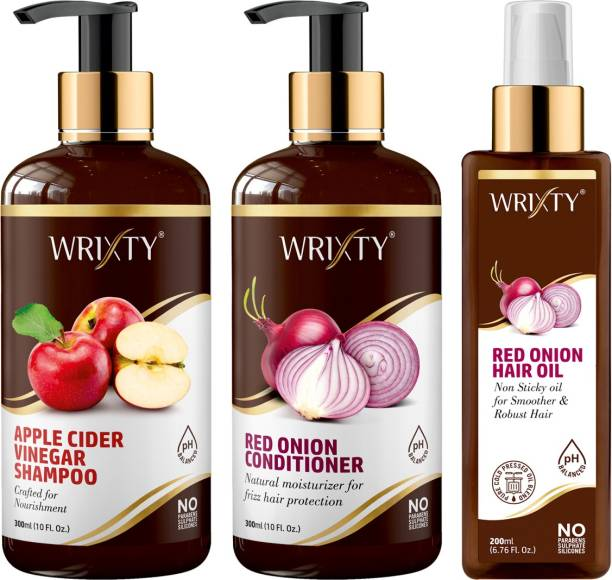 Wrixty Apple Cider Vinegar Shampoo + Red Onion Conditioner + Red Onion Hair Growth Oil For Hair Growth & Anti Hair Fall Combo Kit