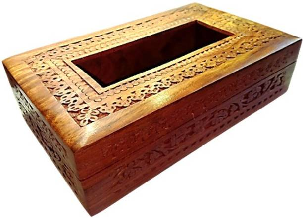 ZYNTIX 1 Compartments Wooden Tissue Box Mughal Carving