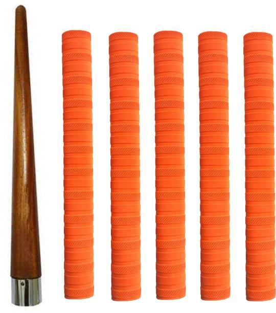 Raider Cricket Bat Orange Grip + One Wooden Cone Chevron