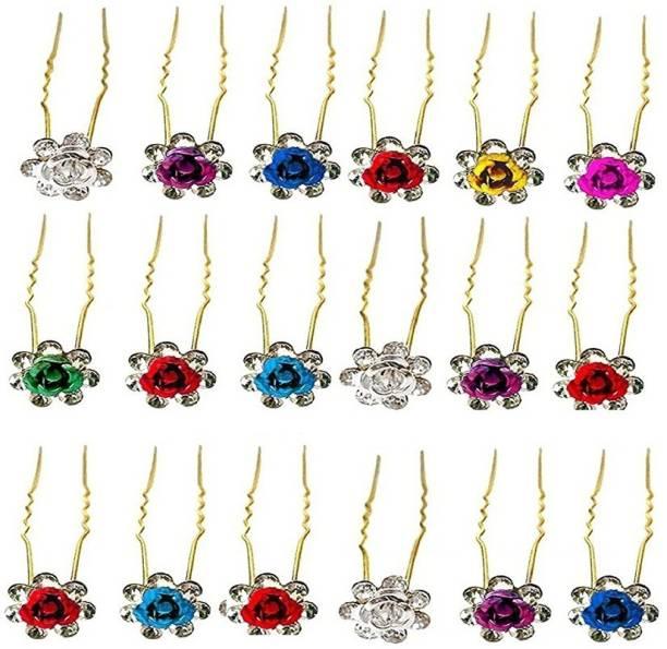 STRIPES 10 Pcs Hair Pins/Hair Clips/Jura Pin for Women/Girls (Multi-color) Hair Pin