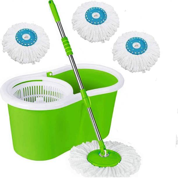 SURABHI Home Cleaning 360° Spin Floor Cleaning Easy Advance Tech Bucket PVC Mop & Rotating Steel Pole Head with 4 Microfiber Refill Head (Green) Mop Set