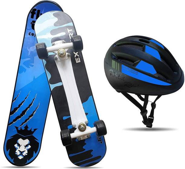"""Jaspo Experts Dual Combo 27""""x7"""" Anti Skid Skateboard with Grip Tape, Carry Bag and Helmet Skating Kit"""