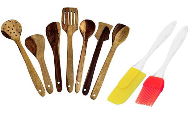 Flipkart SmartBuy BAKING TOOL-09 Wooden Serving Spoon and Non-Stick Cookware Spatula (Pack of 9) WOOD Kitchen Tool Set