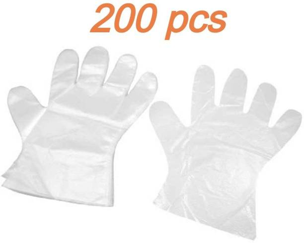 Black Bunny Wet And Dry High-Density Multi-Purpose Clear Transparent Blue Eco-Friendly Plastic Polyethylene Cooking, Cleaning, Kitchen Food Handling Hand Gloves Set (L) Latex Examination Gloves (Pack of 200pcs 100 pair) Latex  Safety Gloves