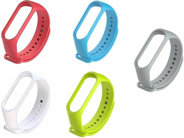 KHR Band Strap for Xiaomi Mi Band 5 / Mi Band 5 (Device not Included) (Combo Of 5) (Grey , P green , white , Red , Sky Blue) Smart Band Strap