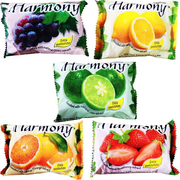 Harmony For Anti-Ageing, Acne remover, Skin radiant fairness (Pack of 5 x 75g) each one (Grapes, Lime, Lemon, Orange, Strawberry Soap)