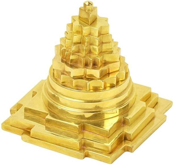 FOBHIYA Golden Metal Brass Meru Prustha Shree Yantra, Metal Shree Yantra Meru Yantra, for Wealth, Prosperity, Luck, Success & Financial Gain, Made in India Best for Gifting Brass Yantra