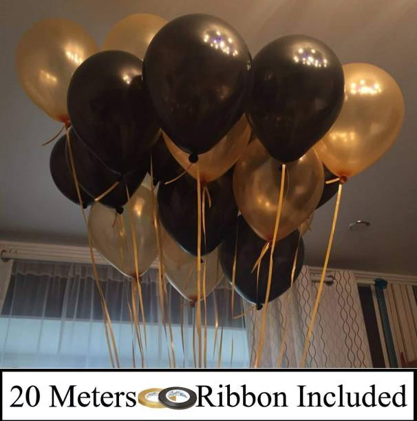 DECOR MY PARTY Solid 10 Inch Black & Golden Metallic Balloons for 1st Birthday Party Decorations , Welcome Baby Decoration , Bachelors Party , Office Party , Diwali , New Year Party, Christmas Decoration Items Balloon