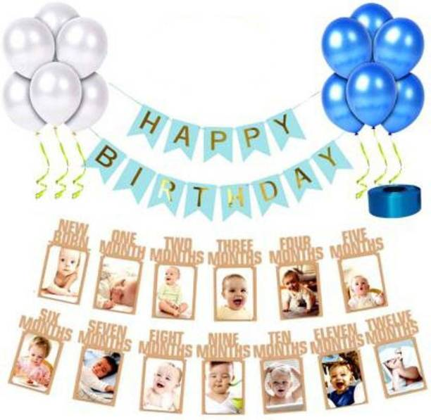 Saikara Collection First/1st happy birthday photo banner combo/kit pack for party decorations