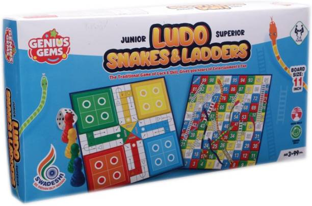 "GENIUS GEMS LUDO SNAKES & LADDERS BOARD GAME 9"" X 9"" BOARD SIZE FOR AMAZING PLAY Party & Fun Games Board Game"