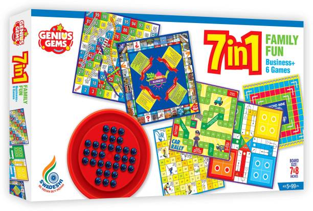 GENIUS GEMS 7 IN 1 FAMILY BOARD GAME WITH BRAINVITA BUSINESS AND MANY MORE Party & Fun Games Board Game