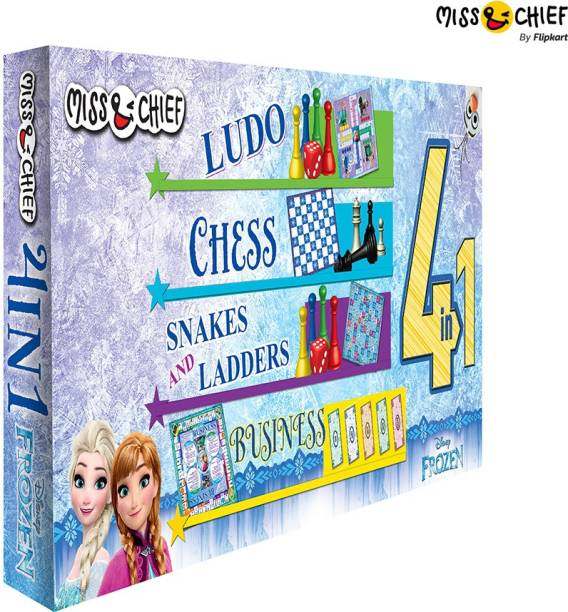 Miss & Chief Frozen 4 Board Games in 1 Pack (Ludo, Chess, Snakes And Ladders, Business) Party & Fun Games Board Game