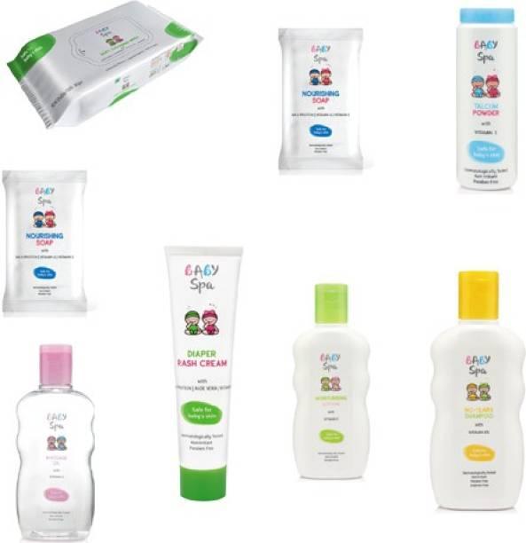 Baby Spa SOAP 2, MASSAGE OIL 1, TALCUM 1, WIPES 1, NO-TEARS SHAMPOO 1, LOTION 1, DIPER RASH CREAM 1,(PACK OF 8)