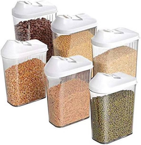 MOUNTHILLS Plastic Easy Flow Container Kitchen Storage Containers, Airtight Kitchen Containers, Plastic Clear Jar's & Container, Plastic Container, Masala Box, Kitchen Containers, Plastic Box, Kitchen Set, Storage Box, Storage Containers For Kitchen Organizer, Tea, Coffee, Sugar, Food, Grain, Rice, Masala, Pasta, Pulses, Spices, - 1500ML Plastic Grocery Container (Pack Of 6, Clear)  - 1500 ml Plastic Grocery Container